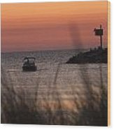Boat By Harbor Entrance Wood Print