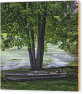 Boat By The Pond 2 Wood Print