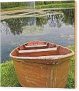 Boat By The Pond Wood Print