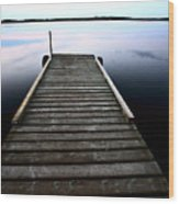 Boat Dock At Smallfish Lake In Scenic Saskatchewan Wood Print