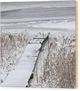 Boat Dock In Winter On A Lake No.0243 Wood Print