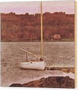 Boat Docked On The River Wood Print