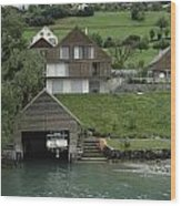 Boat House On A Mountain Slope On The Shore Of Lake Lucerne In Switzerland Wood Print