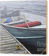 Boat In Fog Wood Print