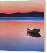 Boat In Sunset II Wood Print