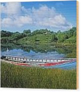 Boat Moored At A Harbor, Ellens Rock Wood Print