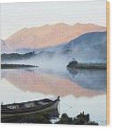 Boat On A Tranquil Lake Killarney Wood Print