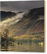 Boat On Lake Derwent, Cumbria, England Wood Print by John Short