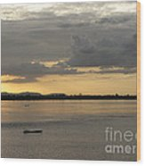 Boat On River At Sunset Wood Print
