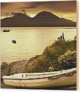 Boat On The Shore At Sunset, Island Of Wood Print