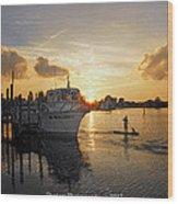 Boat Plastic Sunset  Wood Print