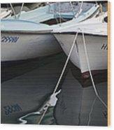Boat Reflections In Hvar Wood Print