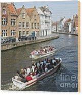 Boat Tours In Brugge Belgium Wood Print