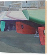 Boat Yard Island Heights Wood Print