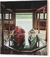 Boathouse At Maligne Lake Wood Print