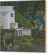 Boathouse Boy Fishing Wood Print