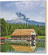 Boathouse On Mountain Lake Wood Print