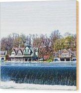 Boathouse Row From Fairmount Dam Wood Print
