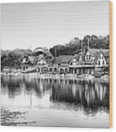Boathouse Row In Black And White Wood Print