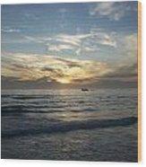 Boating At Sunset Wood Print