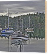 Boating Reflections Wood Print