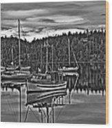 Boating Reflections Mono Wood Print
