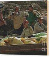 Boatmen In Laos Wood Print