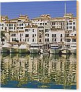 Boats And Houses On Waterfront Wood Print