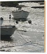 boats at low tide in Cape Cod Wood Print