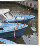 Boats In Amsterdam. Holland Wood Print