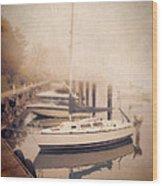 Boats In Foggy Harbor Wood Print