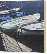 Boats In Harbor Wood Print by Axiom Photographic