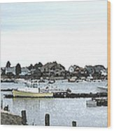 Boats In Harbor Water Wood Print