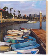 Boats In The Bay Wood Print