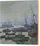Boats In The Pool Of London Wood Print