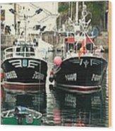 Boats Wood Print by Jenny Senra Pampin
