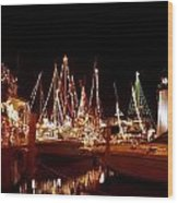 Boats Lighted Wood Print