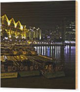 Boats Moored To The Side At Clarke Quay In Singapore Wood Print