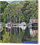 Boats On A River Wood Print