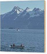 Boats On Alaska's Inside Passage Wood Print