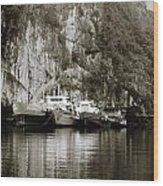 Boats On Halong Bay 1 Wood Print