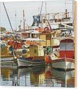 Boats On Santorini Wood Print