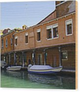 Boats On The Canal - Venice Wood Print