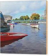 Boats On The Garavogue Wood Print