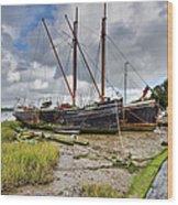 Boats On The Hard At Pin Mill Wood Print