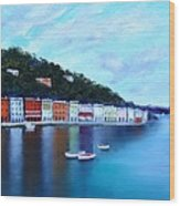 Boats On The Riviera Wood Print