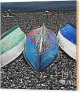 Boats On The Shingle Wood Print