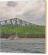 Boats Under Bridge Wood Print