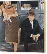 Bonnie And Clyde, From Left Faye Wood Print by Everett
