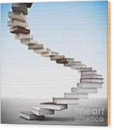 Book Stair Wood Print